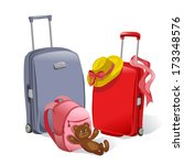 adventure,airport,backpack,bag,baggage,cartoon,color,family,handle,hat,holiday,icon,illustration,isolated,journey