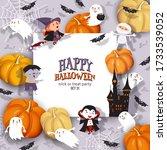 halloween banner with castle ...   Shutterstock .eps vector #1733539052