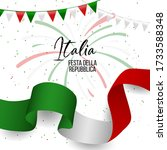 2nd june  italy happy republic... | Shutterstock .eps vector #1733588348