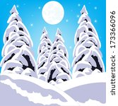 illustration winter wood on... | Shutterstock .eps vector #173366096