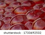 Red Background Of Suds Bubbles. ...