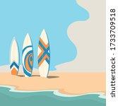 Surfboards On The Seashore....