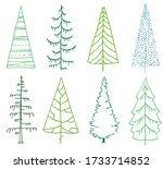 set of stylized fir trees on... | Shutterstock .eps vector #1733714852