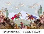 ottoman empire. battle scene.... | Shutterstock .eps vector #1733764625