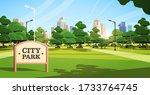 sign board in city park...   Shutterstock .eps vector #1733764745