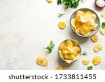 Homemade Potato Chips In Bowls...