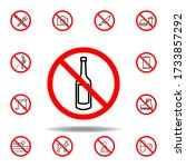 forbidden champagne icon. set...