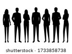 set of vector silhouettes of ... | Shutterstock .eps vector #1733858738