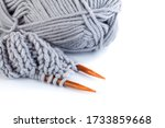 Knitting Needles And Grey And...