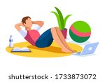 boy wellness  sports at home by ... | Shutterstock .eps vector #1733873072