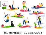 girl wellness  sports at home... | Shutterstock .eps vector #1733873075