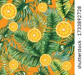 palm leaves with citrus oranges ... | Shutterstock .eps vector #1733892728