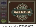 luxury logo template flourishes ... | Shutterstock .eps vector #1733893475