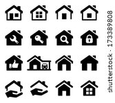 house icon set  black color ... | Shutterstock .eps vector #173389808
