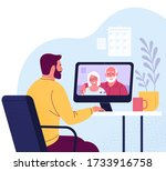 video call. vector illustration ...   Shutterstock .eps vector #1733916758