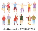 healthy active lifestyle older... | Shutterstock .eps vector #1733945705