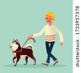 happy man walking with his dog. ... | Shutterstock .eps vector #1733957378