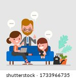 happy family watching news and... | Shutterstock .eps vector #1733966735