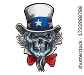 human skull in an uncle sam hat ... | Shutterstock .eps vector #1733988788