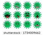 corona virus green emoticon... | Shutterstock .eps vector #1734009662