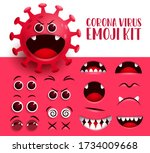 corona virus emoji kit vector... | Shutterstock .eps vector #1734009668