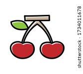 cherry hand drawn icon vector...