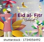 vector illustration of greeting ... | Shutterstock .eps vector #1734056492