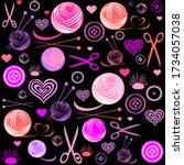 knitting and needlework...   Shutterstock .eps vector #1734057038