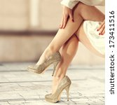 beautiful  female legs and... | Shutterstock . vector #173411516