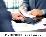 business colleagues working... | Shutterstock . vector #173411876
