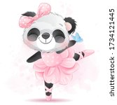 cute little panda ballet dance | Shutterstock .eps vector #1734121445