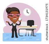 cartoon business woman talking...   Shutterstock .eps vector #1734131975