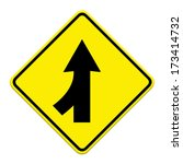 traffic sign lanes merging left ... | Shutterstock . vector #173414732