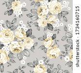 yellow vector flowers bunches... | Shutterstock .eps vector #1734160715