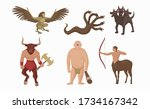 mythical creatures greece.... | Shutterstock .eps vector #1734167342