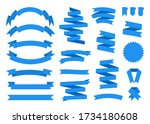 blue ribbon flat set. retro... | Shutterstock .eps vector #1734180608