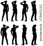 EPS 10 Vector of Soldier, officer, captain, policeman saluting