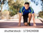 handsome young runner in the... | Shutterstock . vector #173424008