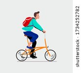 man with a folding bike. vector ...   Shutterstock .eps vector #1734252782