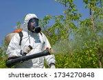 Farmer Spraying Fruit Orchard...