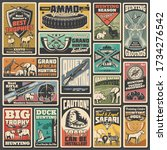 Hunting ammunition and weapon, retro vector posters. Wild animals and wildfowl hunt club open season. Hunter trap warning sign, african safari adventure, hunt ammo, equipment, rifles and trophy