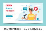 podcaster talking to microphone ... | Shutterstock .eps vector #1734282812