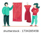 designers or stylists working... | Shutterstock .eps vector #1734285458