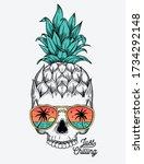 hand drawn vector pineapple... | Shutterstock .eps vector #1734292148