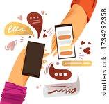hand with phone vector cartoon... | Shutterstock .eps vector #1734292358