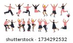 happy birthday people jumping... | Shutterstock .eps vector #1734292532