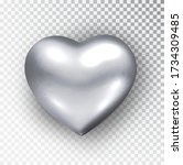 silver heart isolated.... | Shutterstock .eps vector #1734309485