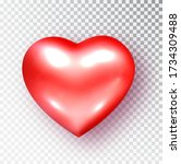 red heart isolated. realistic... | Shutterstock .eps vector #1734309488
