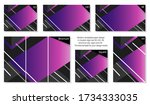 collection of colorful purple... | Shutterstock .eps vector #1734333035