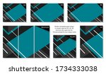 collection of colorful blue... | Shutterstock .eps vector #1734333038